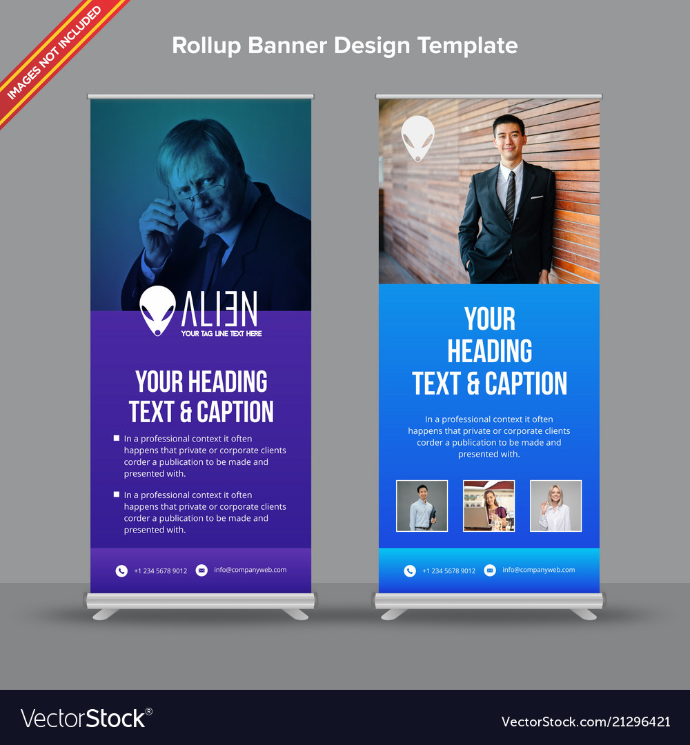 Creative rollup banner with blue and purple