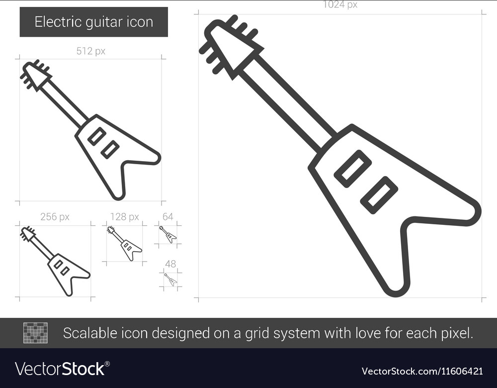 Electric guitar line icon