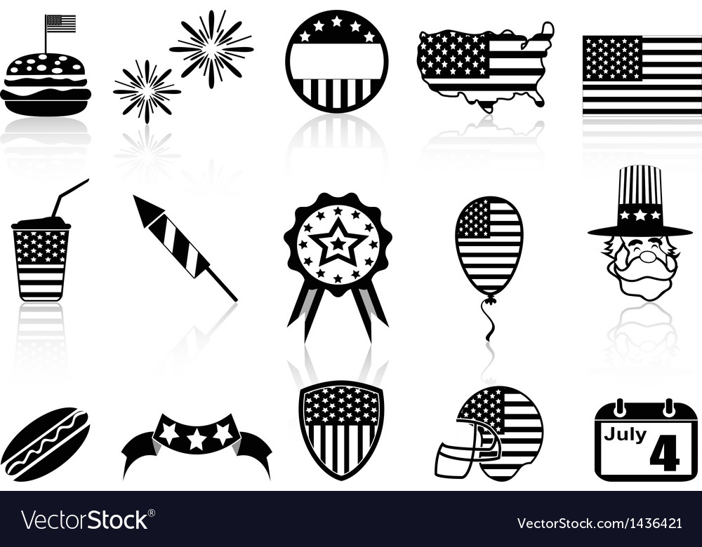 Fourth of July icons set vector image