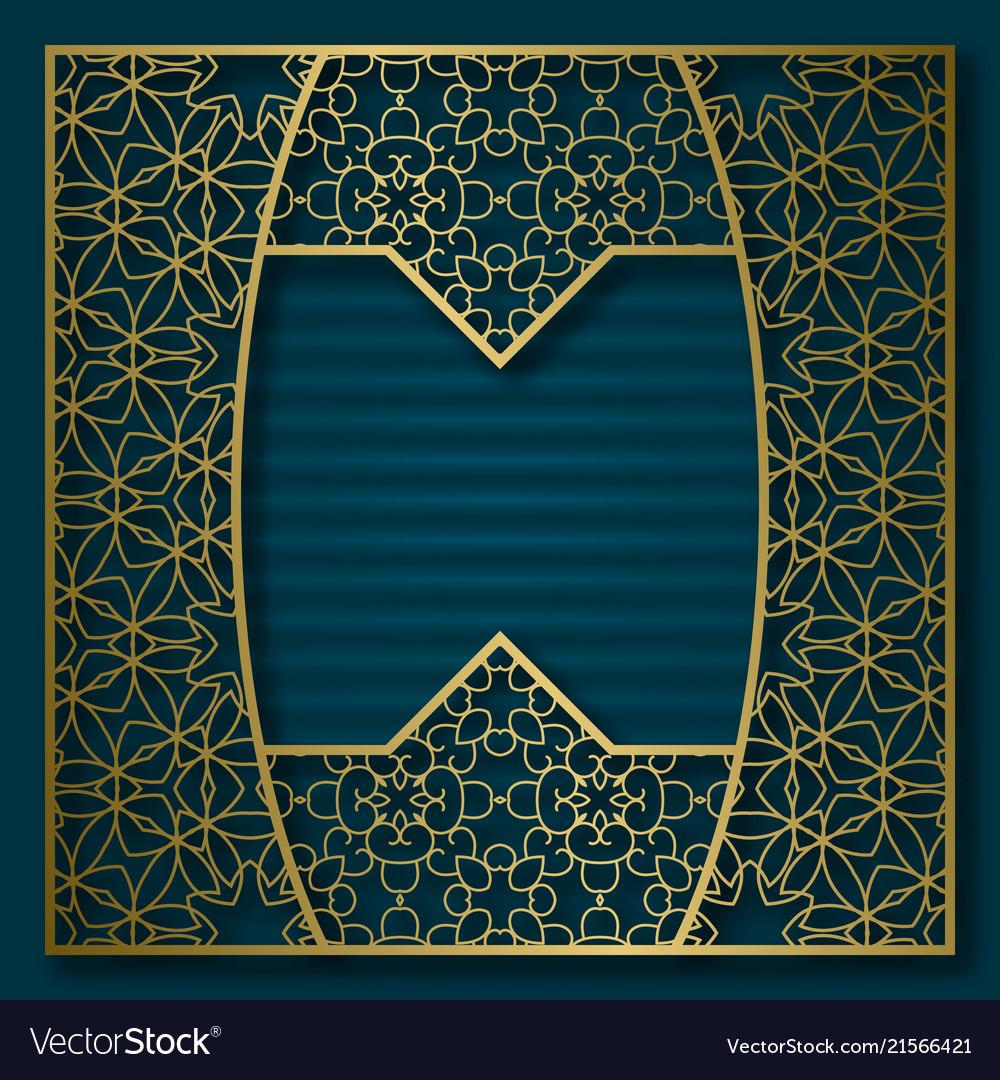 Golden cover background patterned square frame