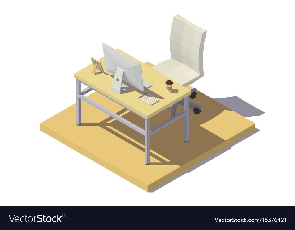 Isometric office workplace beige tones vector image