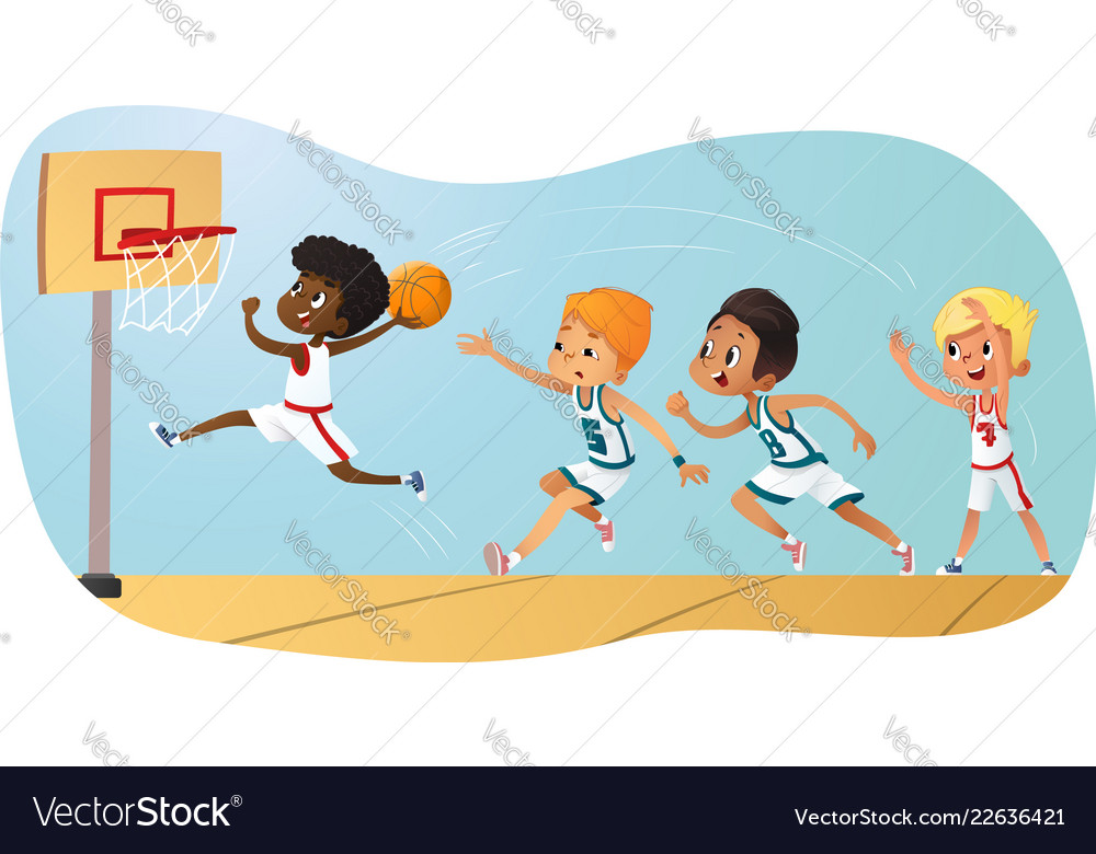 Of kids playing basketball