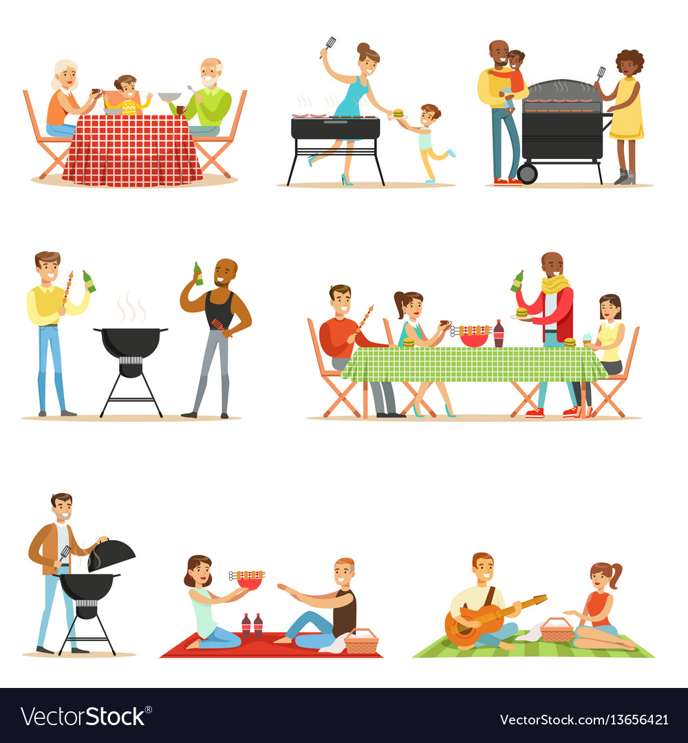 People on bbq picnic outdoors eating and cooking