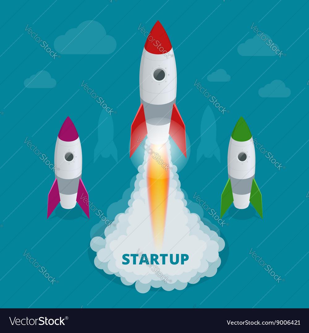 Startup flat 3d isometric style technology