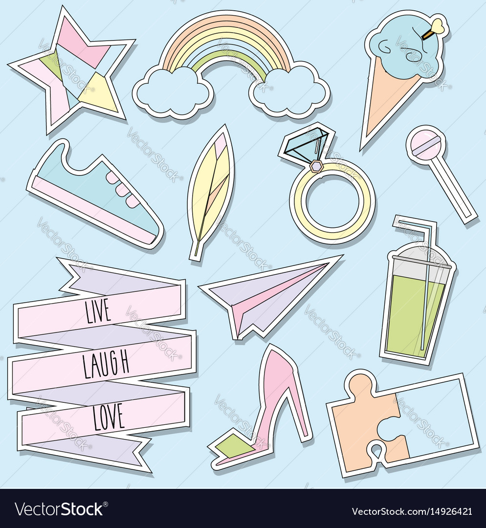 Stickers and patches collection trendy vector image