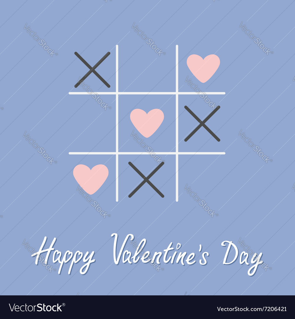 Tic tac toe game with cross and three heart sign vector image