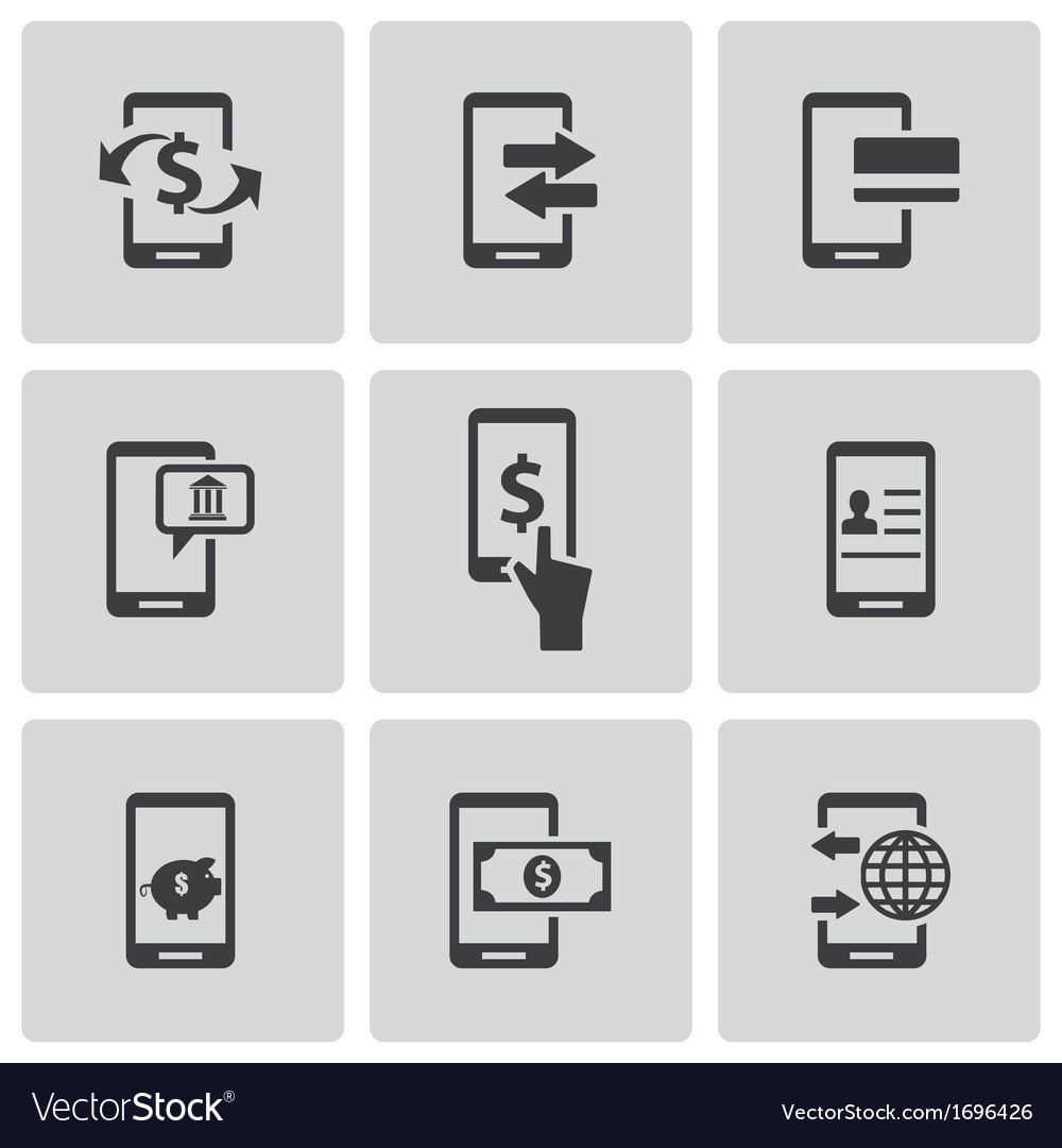 Black mobile banking icons set vector image