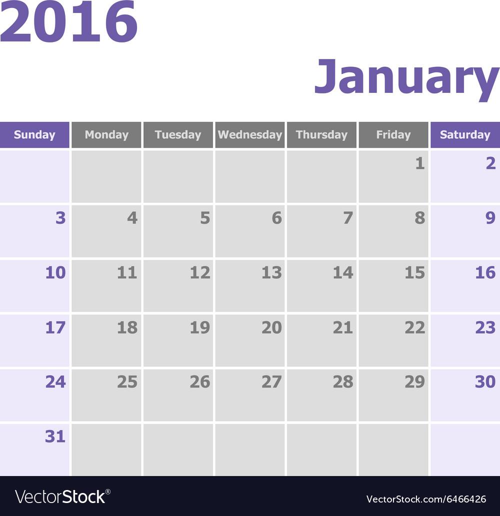 Calendar January 2016 week starts from Sunday