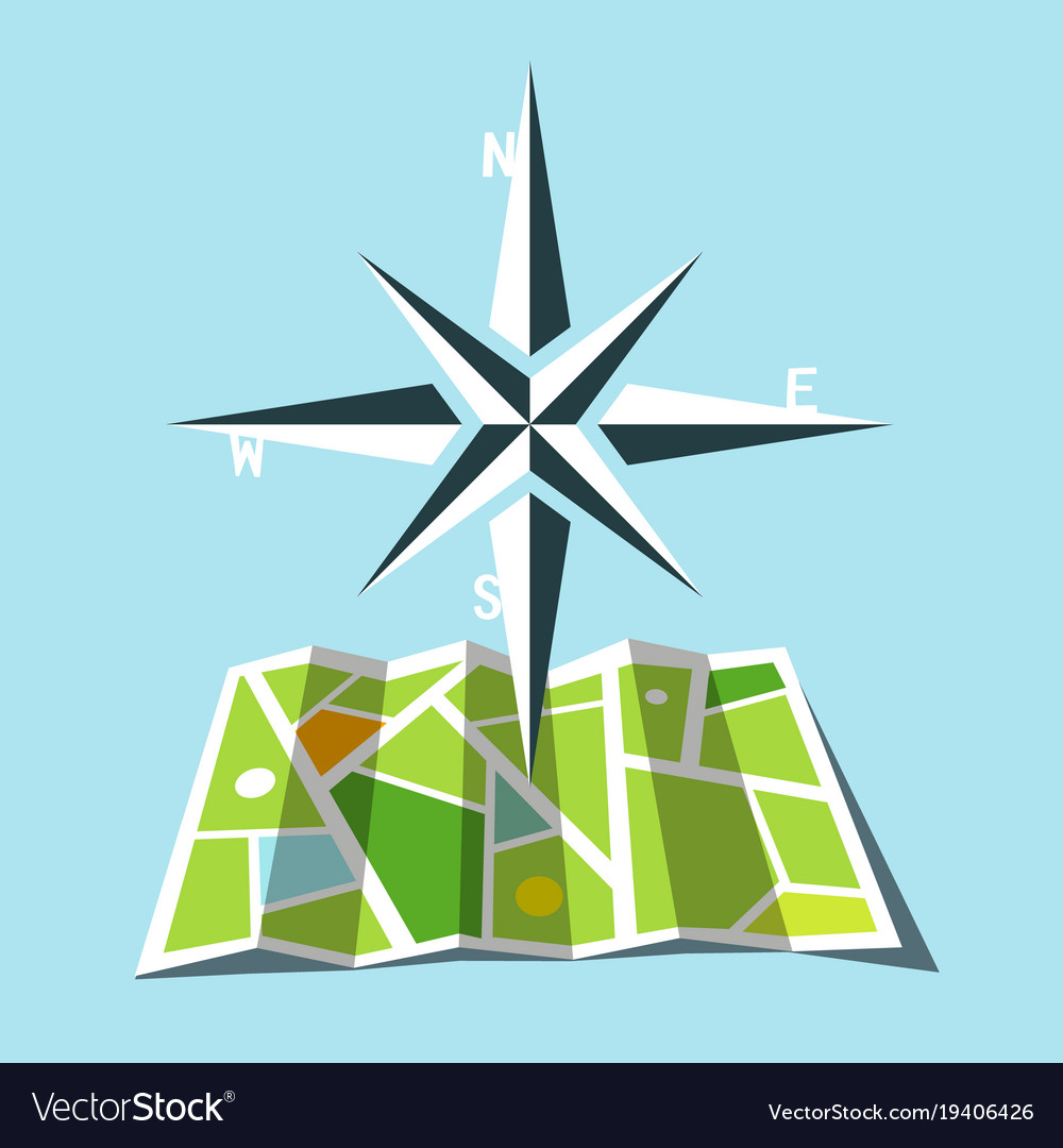Cardinal direction symbol with map Royalty Free Vector Image on