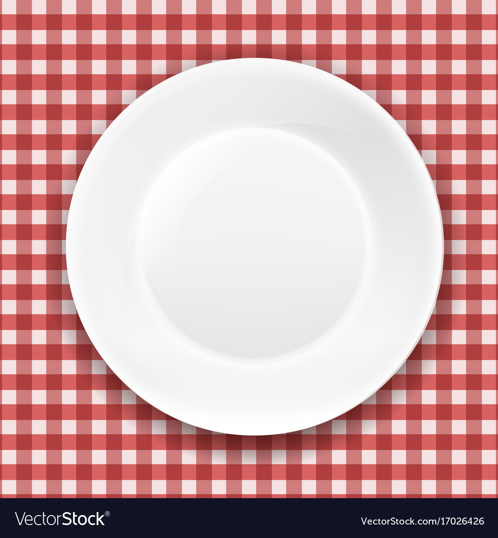 Checkered cloth and white plate vector image