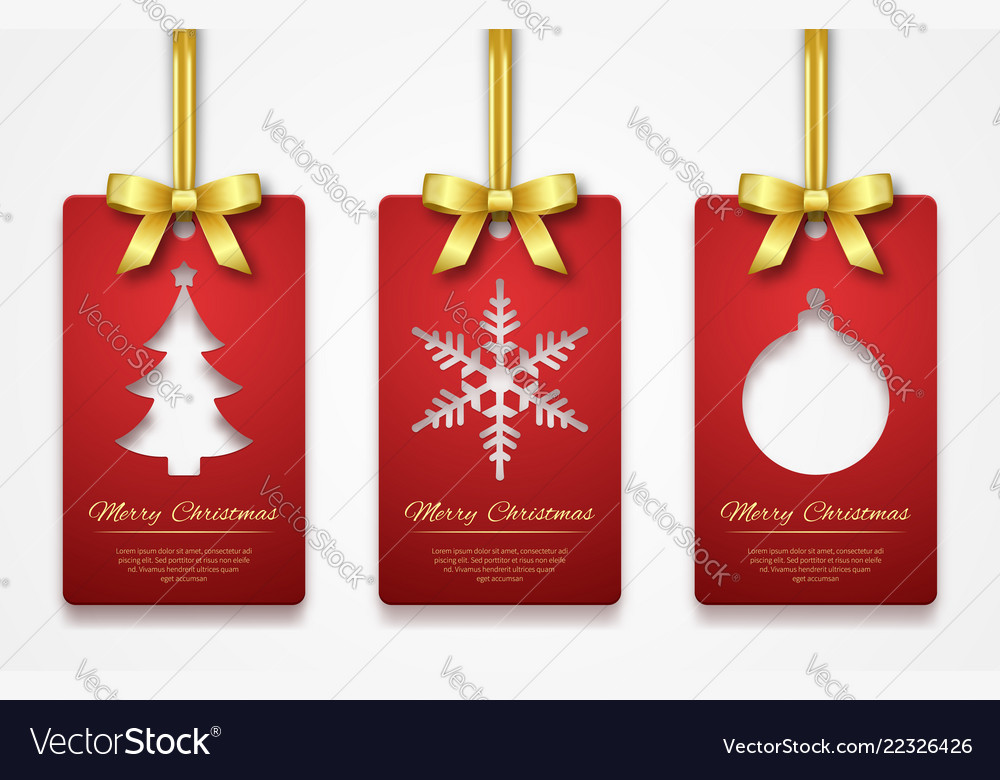 Christmas tags on white background with golden