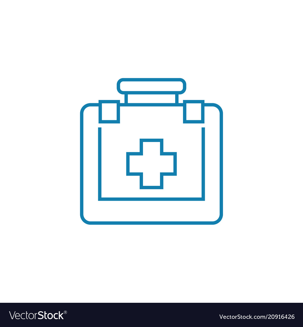 First aid kit linear icon concept first aid kit