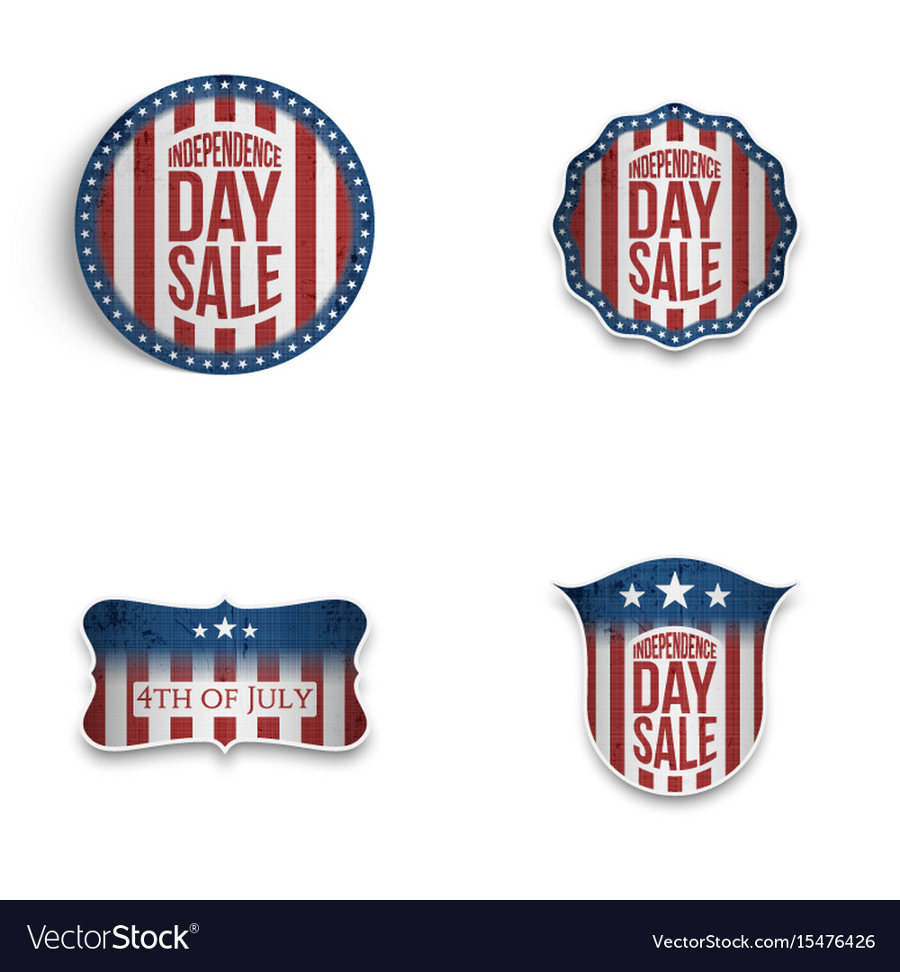 Independence day patriotic emblems and shields set