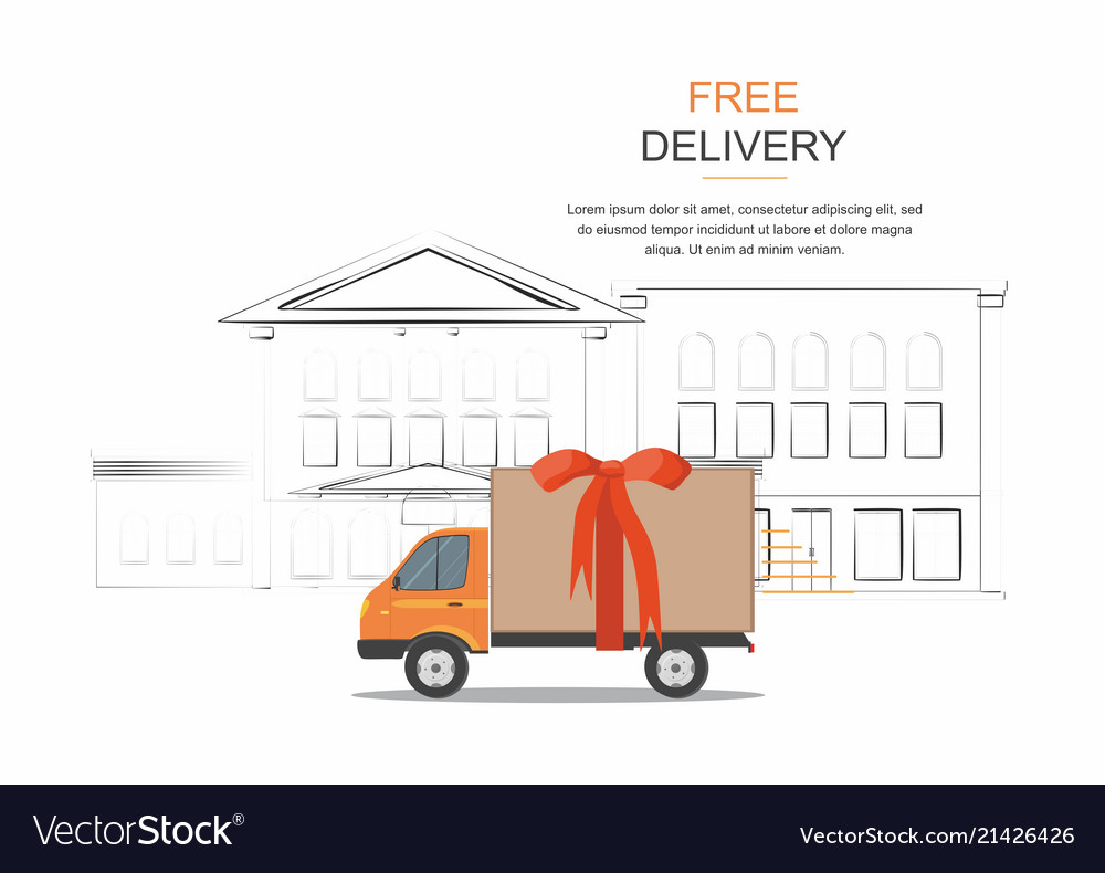 Orange delivery van on city background
