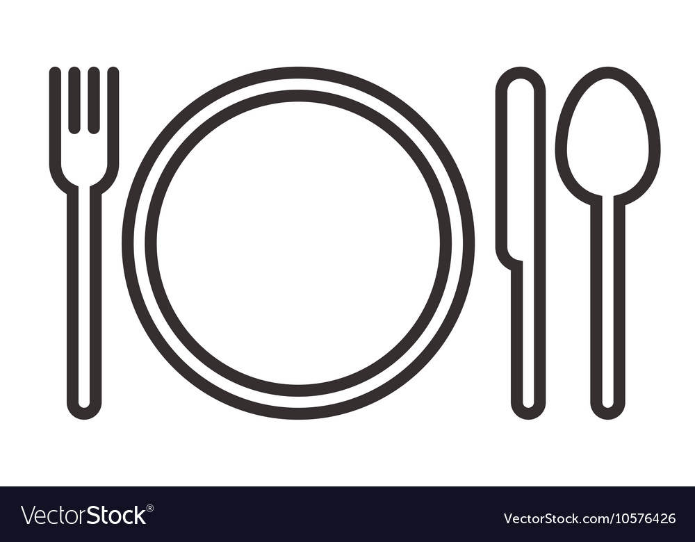 Plate fork knife and spoon sign vector image