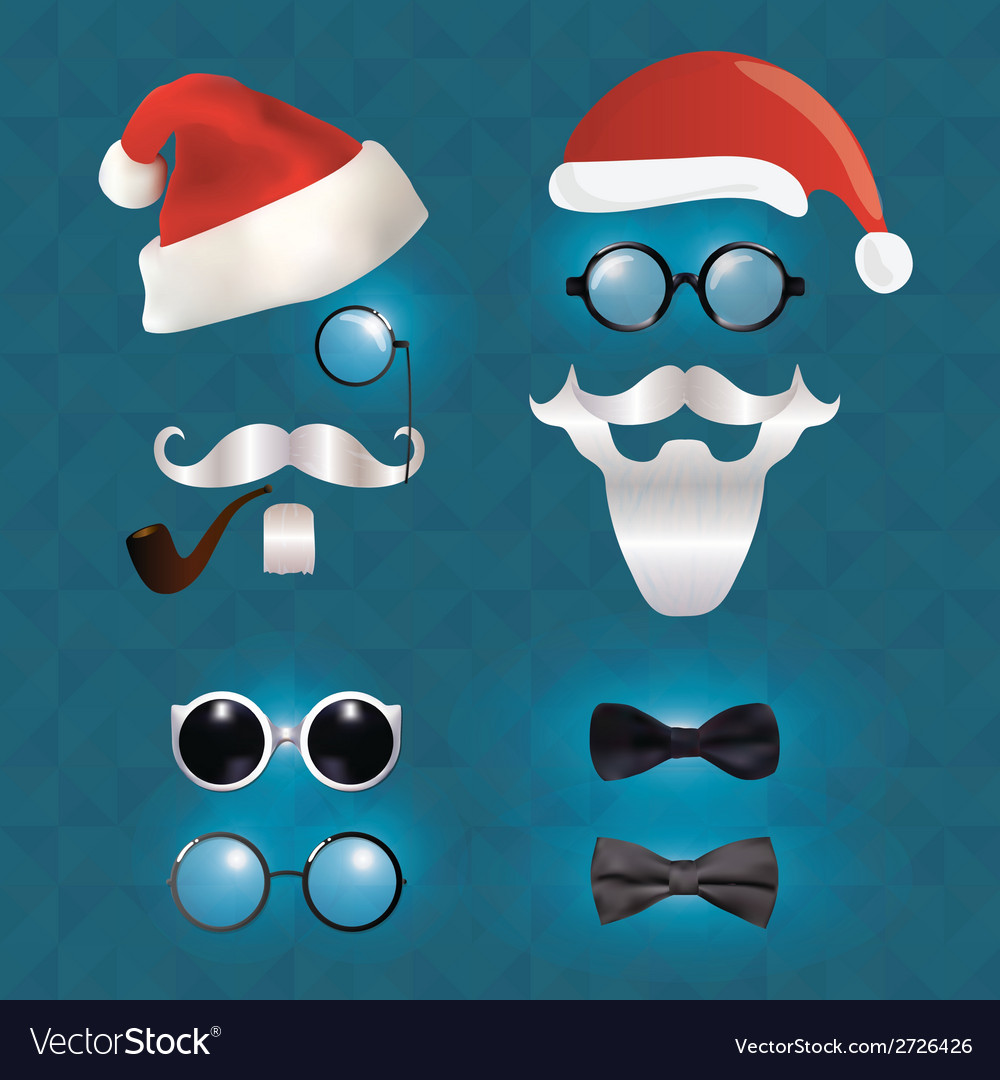 Santa Klaus fashion set hipster style vector image