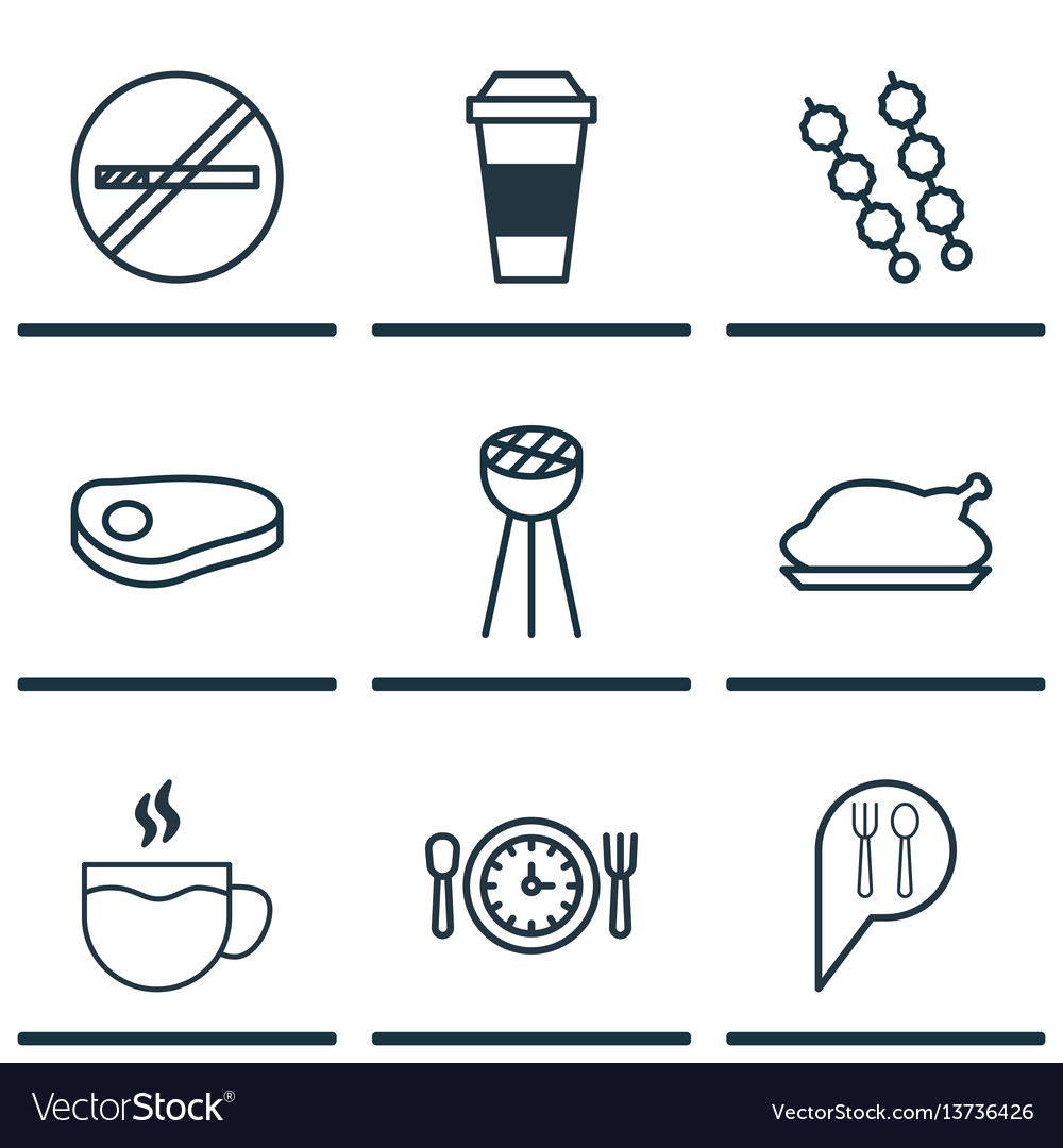 Set of 9 meal icons includes chicken fry stop