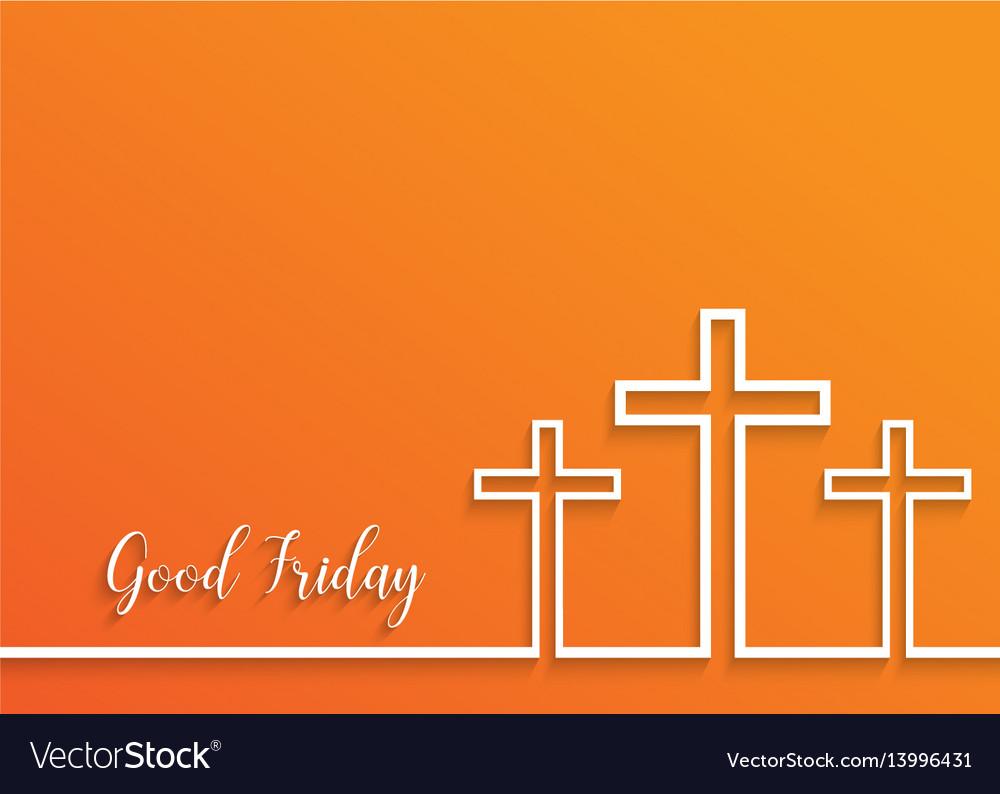 Cross for good friday on orange background