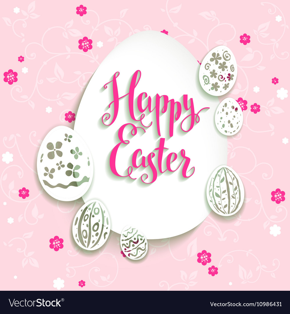 Easter eggs with pink background