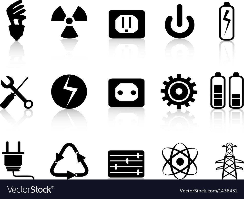 Electricity and power icons set vector image