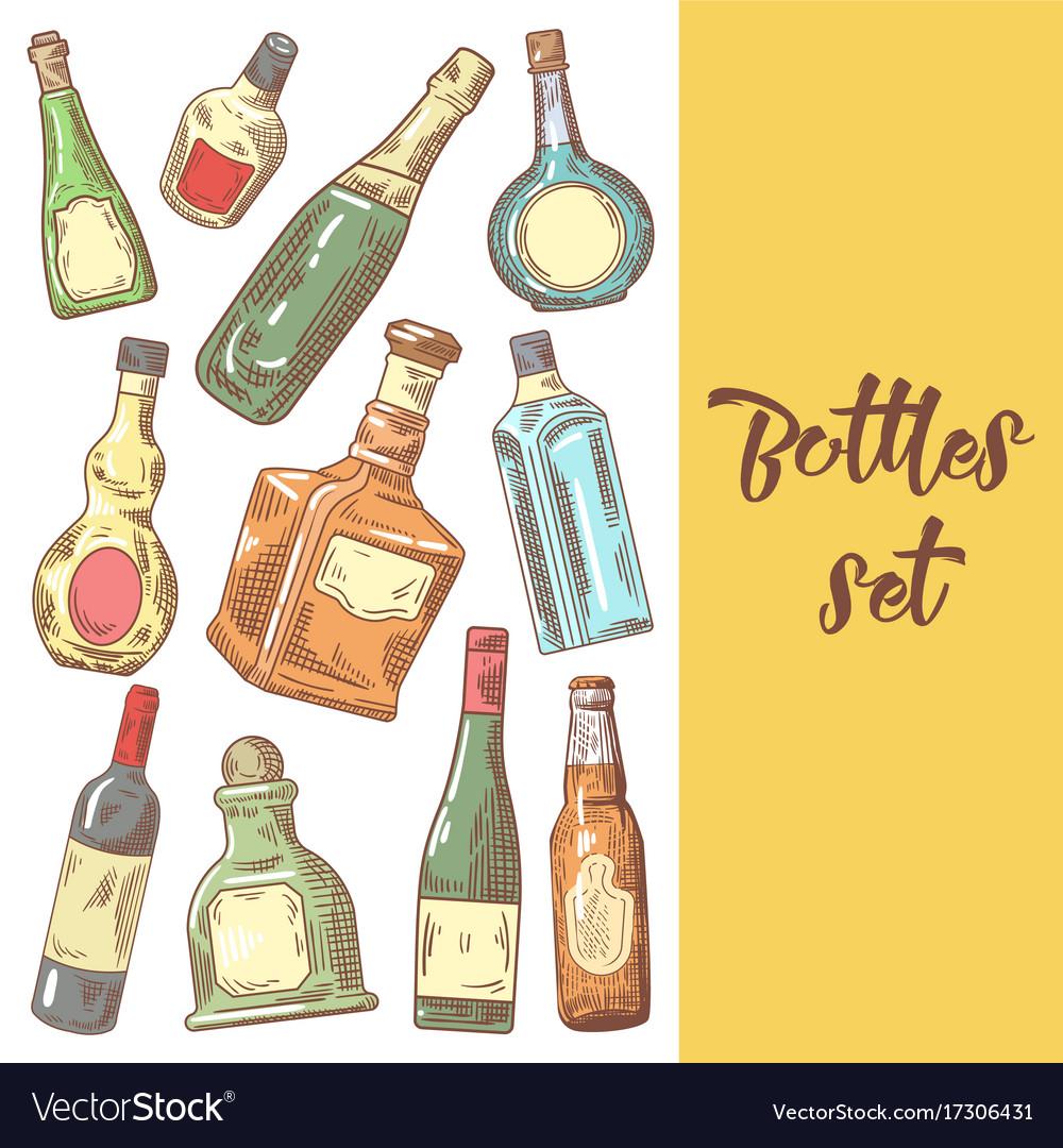 Hand drawn bottles menu design wine cognac vector image