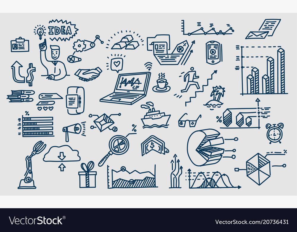 Hand drawn elements symbols business