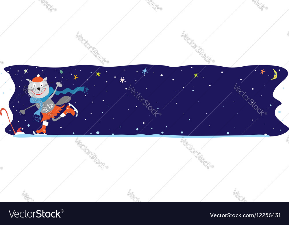 Incredible sporting story at the festive ice rink vector image