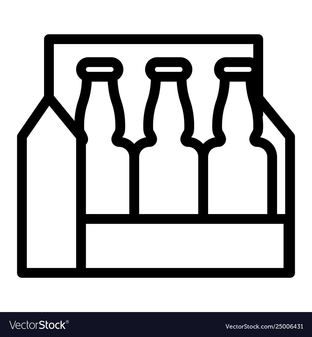 Pack Beer Line Icon Beer Box Royalty Free Vector Image