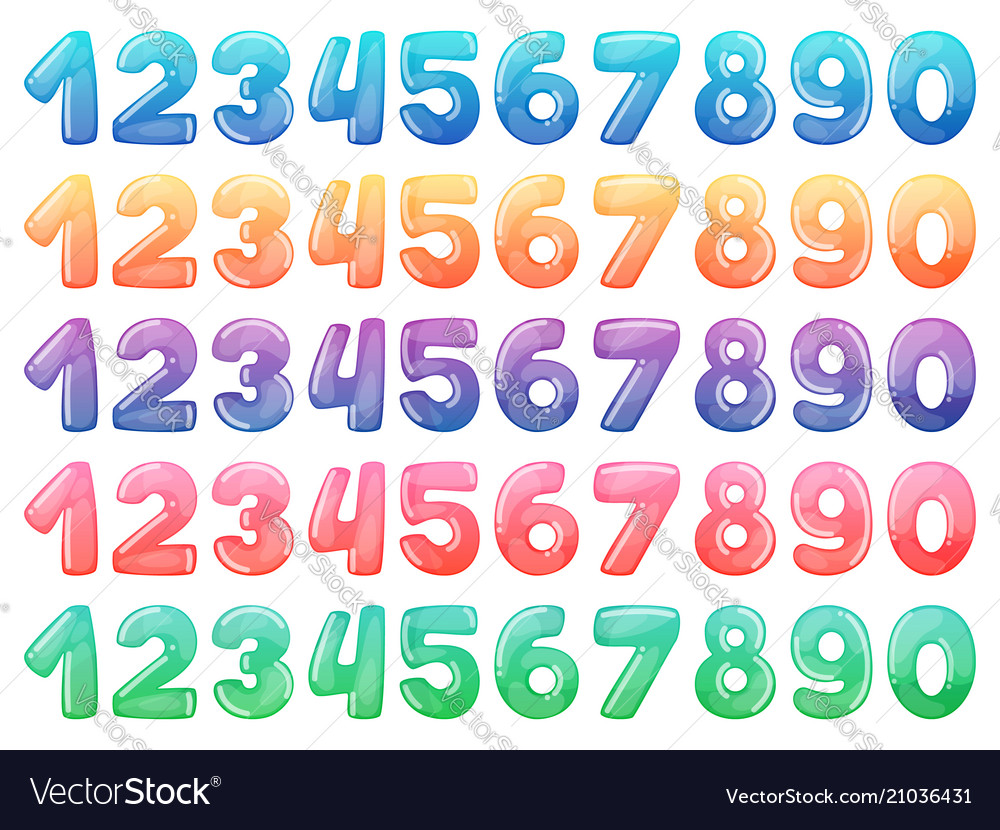 Set color cartoon numbers rainbow candy and