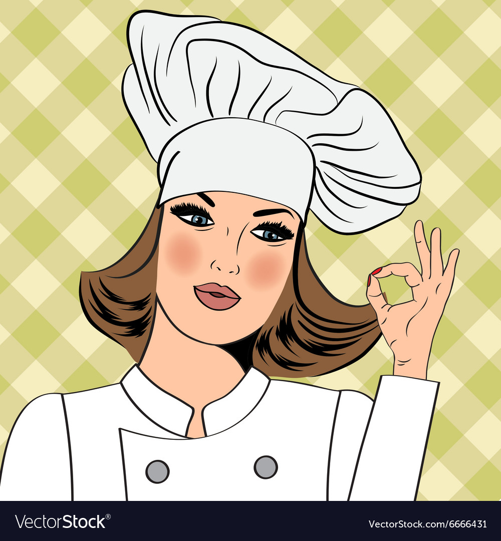 Sexy chef woman in uniform gesturing ok sign with