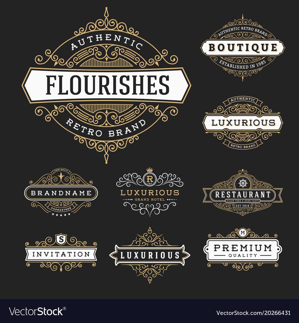 Vintage flourishes frame banner label