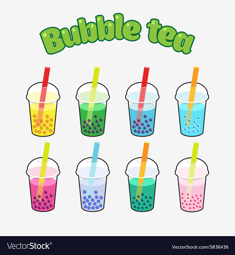 Bubble Tea set vector image