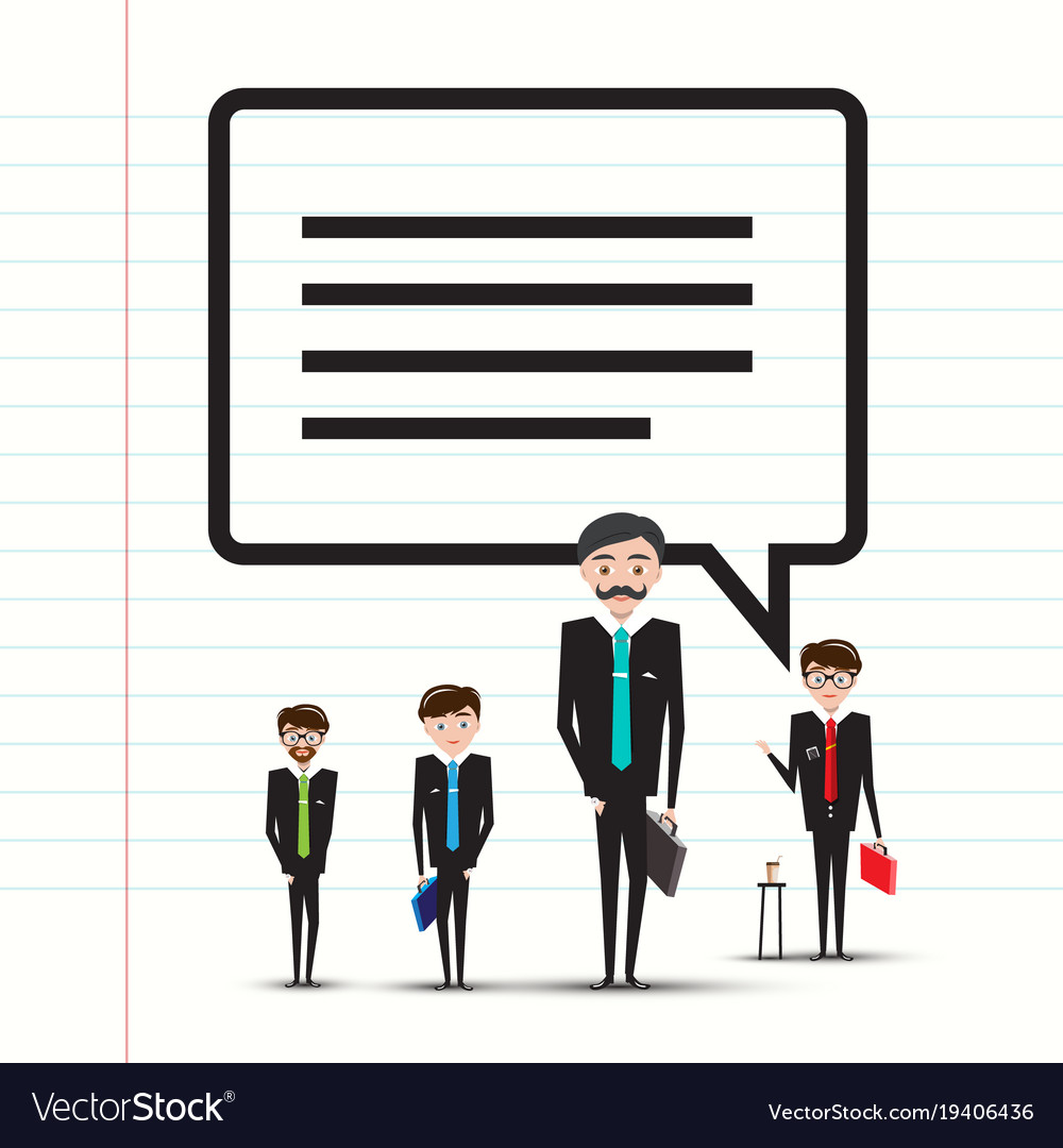 Business men or teachers with speech bubble on vector image