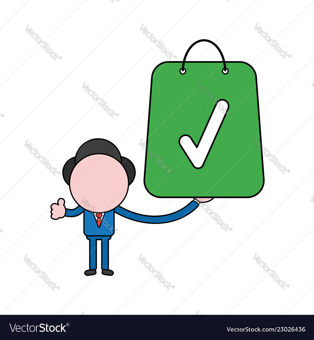 Businessman character holding shopping bag with