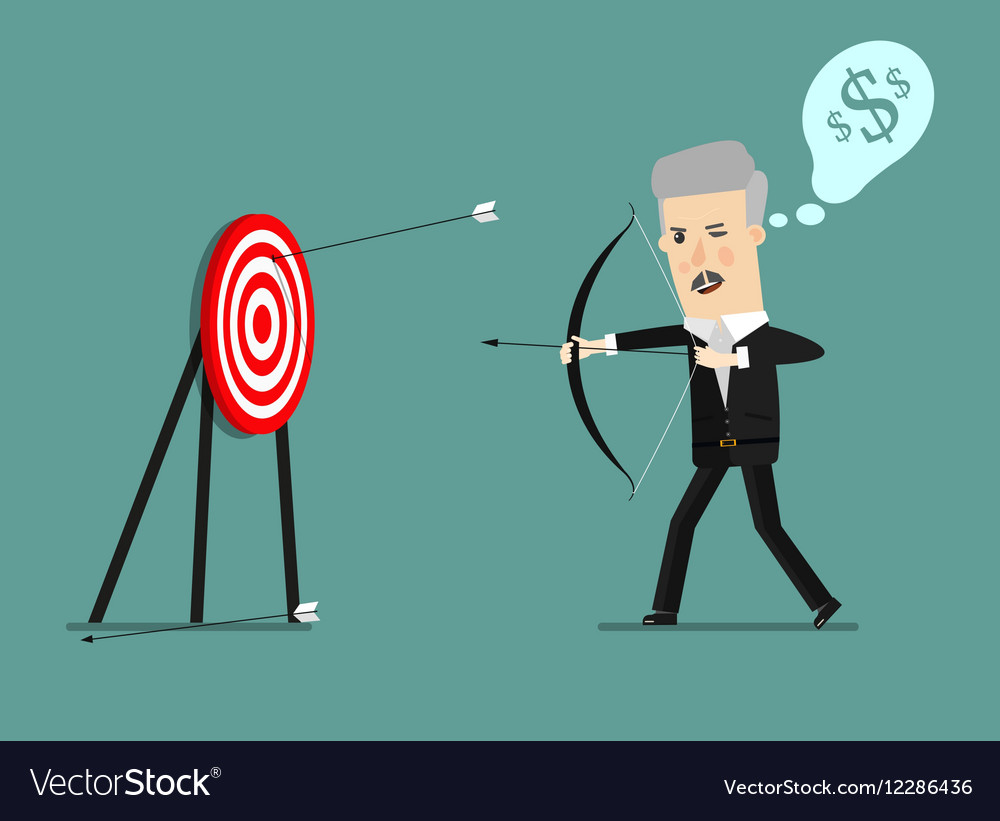 Cartoon businessman with bow and many targets