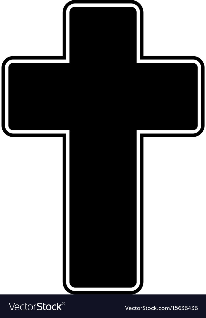 Church cross the black color icon