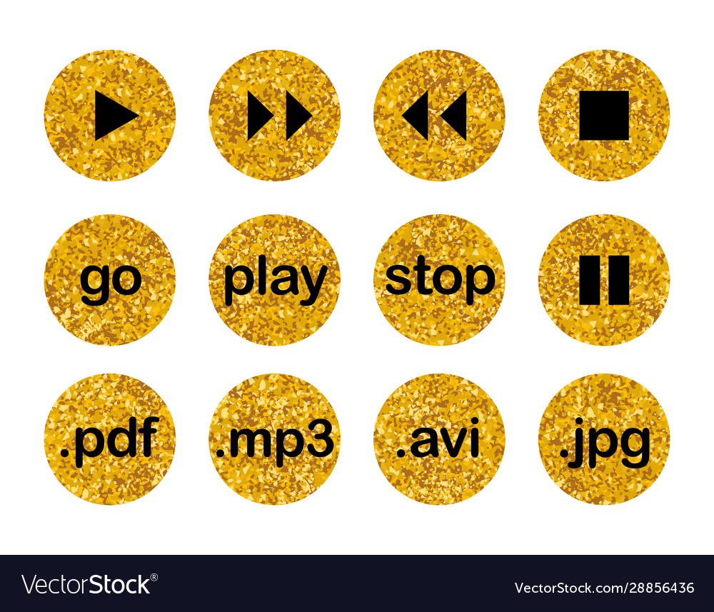 Collection golden multimedia buttons isolated
