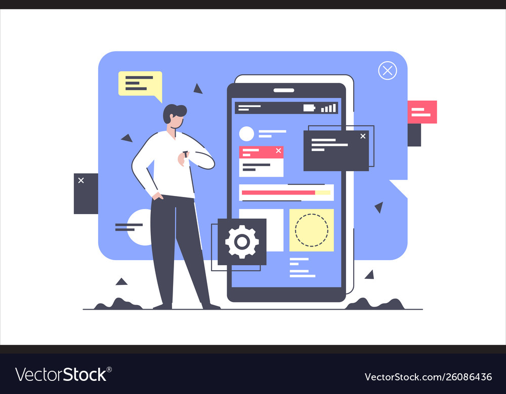 Flat isolated businessman develop and creating new
