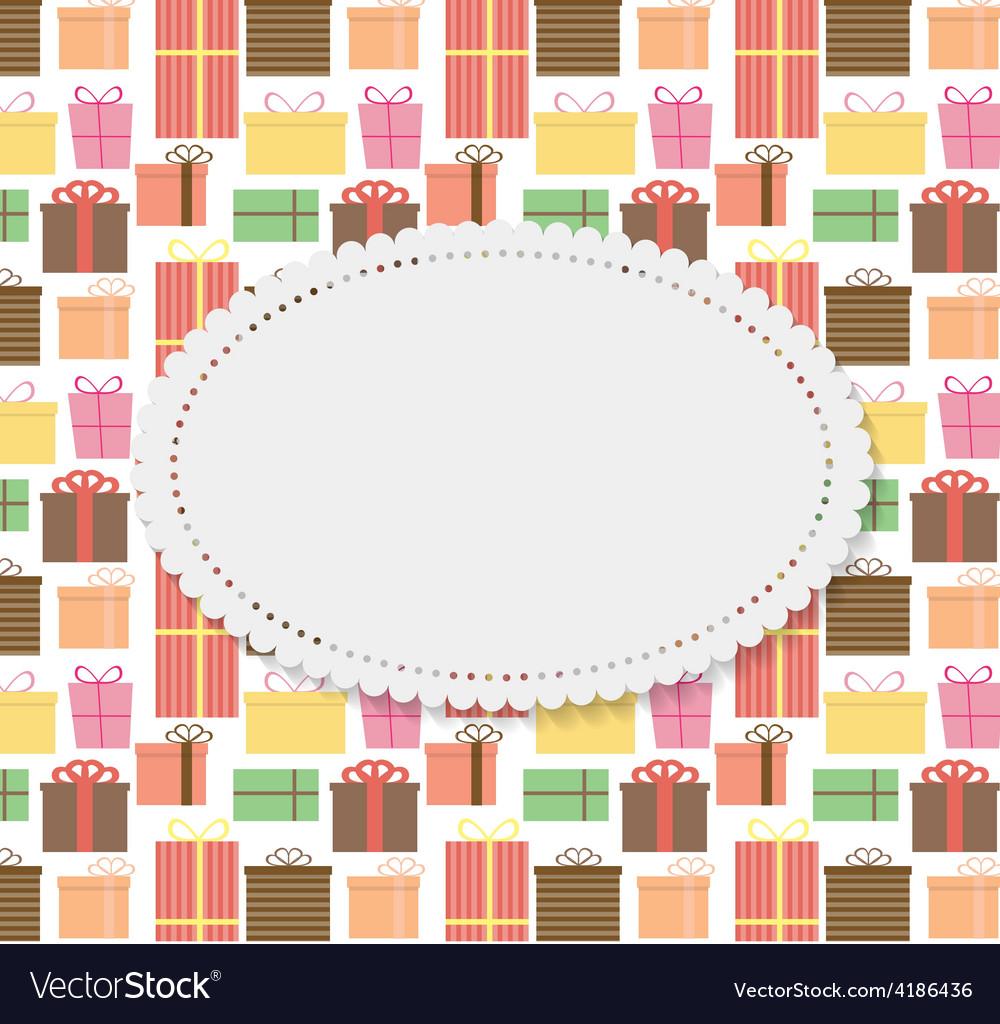 Frame in Vintage Gift Box Background vector image