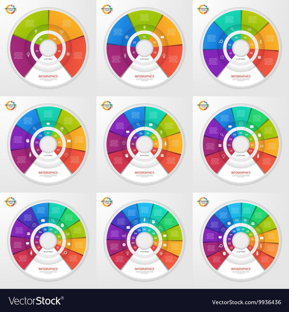 Set circle infographic templates