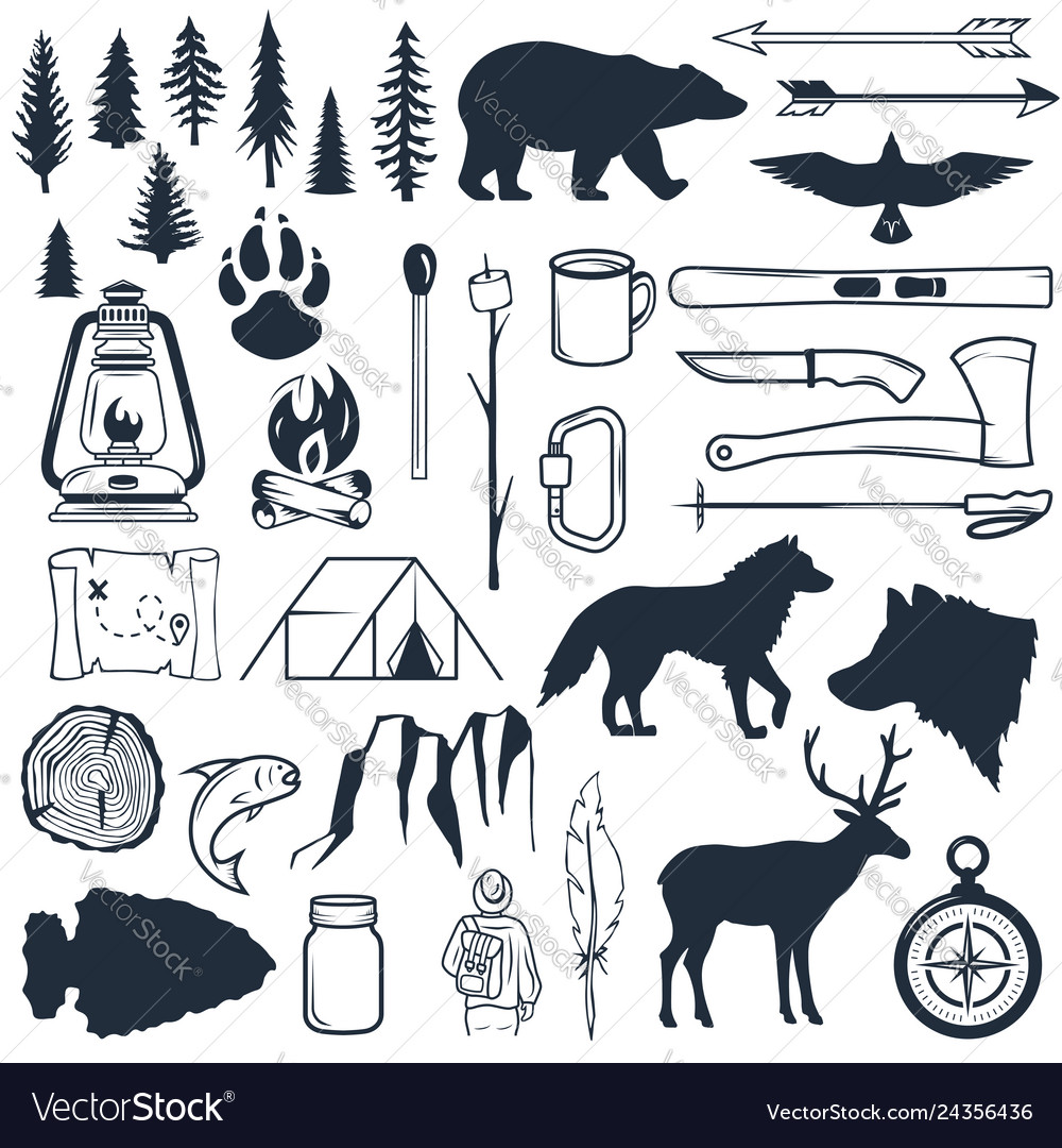 Set wilderness silhouettes hand drawn camping