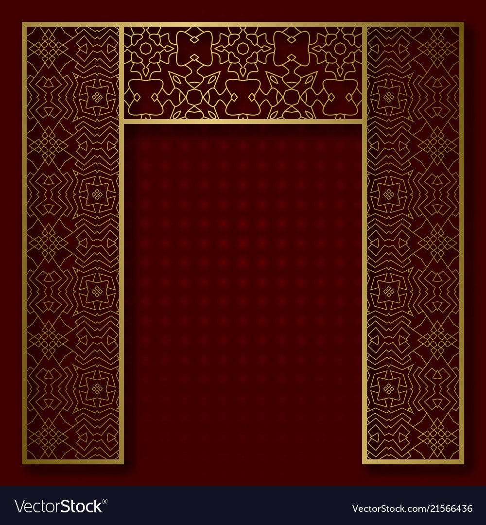 Traditional background with golden arched frame