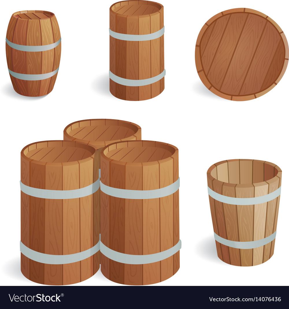 Wooden barrel vintage old style oak storage