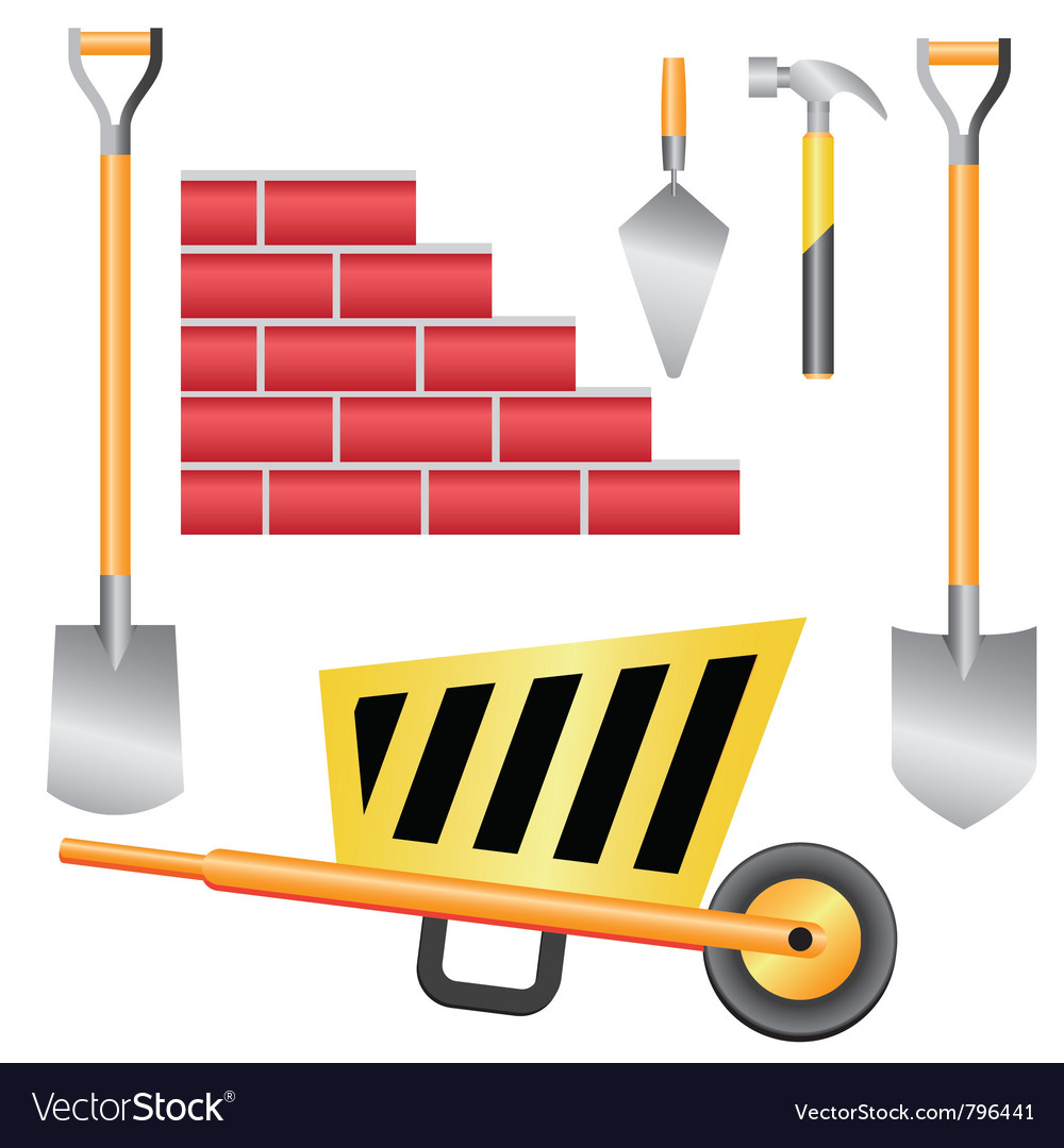Basic construction tools set vector image