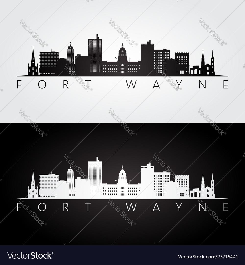 Fort wayne usa skyline and landmarks silhouette