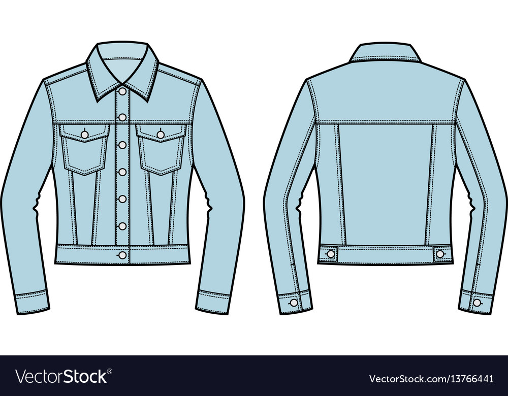 jean jacket front and back royalty free vector image