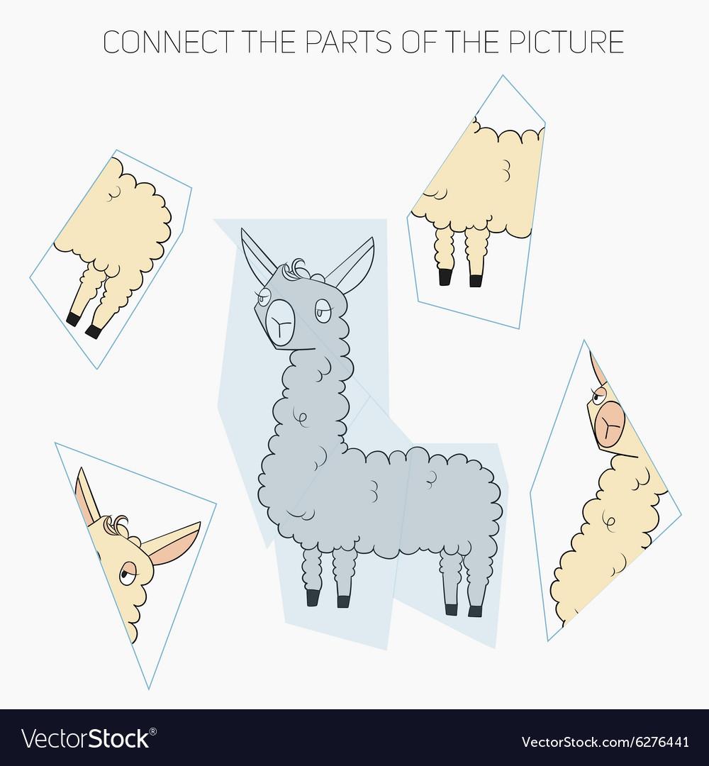 Puzzle game for children lama