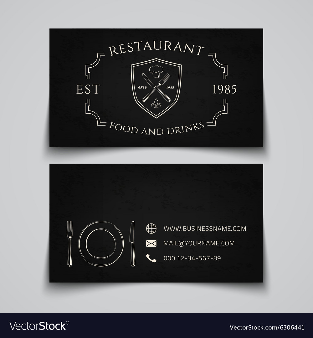 restaurant business card template vector image - Restaurant Business Card