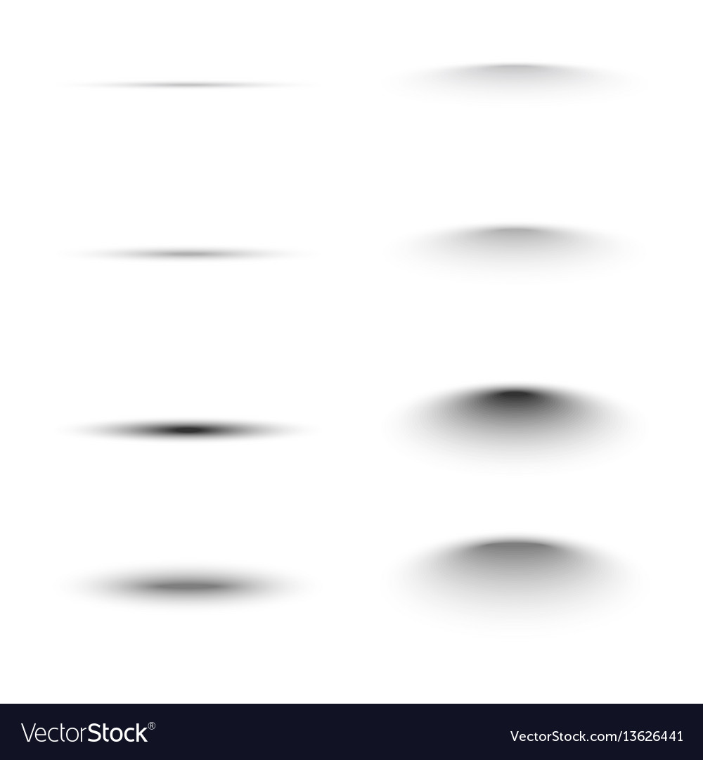 Set of black oval shadow vector image