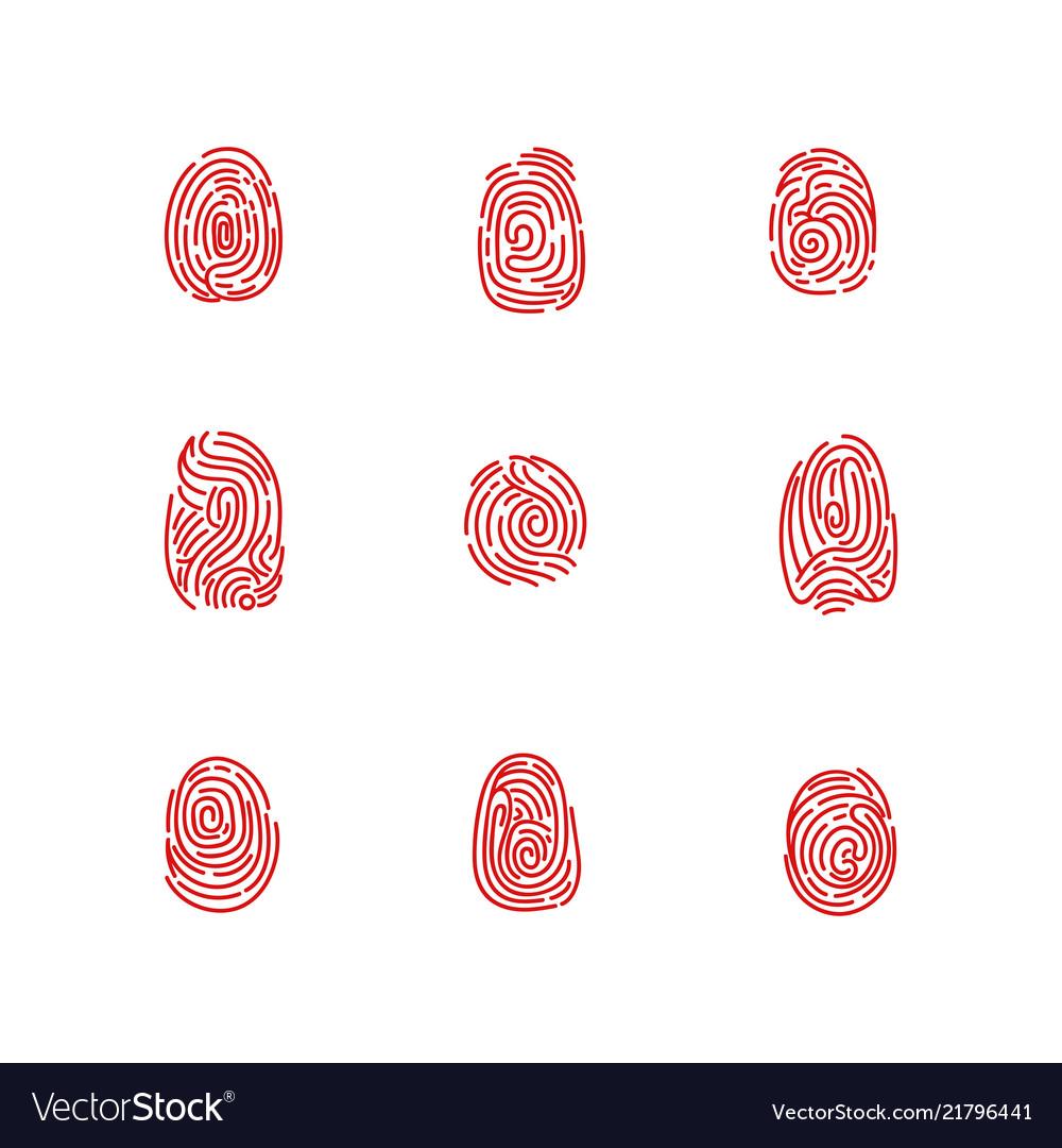 Set of isolated fingertips or fingerprints